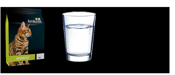 La consommation d'Amikinos Référence alliée à une prise d'eau adéquate et très proche de la moyenne des compositions des proies naturelles contrairement à la nourriture humide