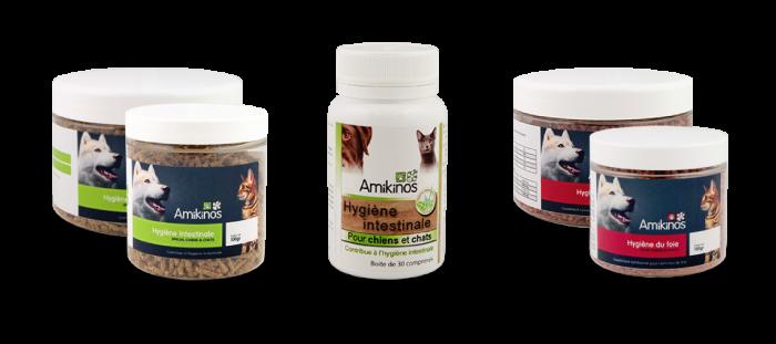 Photo des produits Hygiène intestinale et Hygiène du foie à utiliser pendant la transition alimentaire chien.