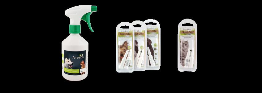 Les produits naturels anti-puces et tiques Amikinos remplace les comprimés anti-puces et tiques chimiques provoquant des troubles de la flore intestinale.
