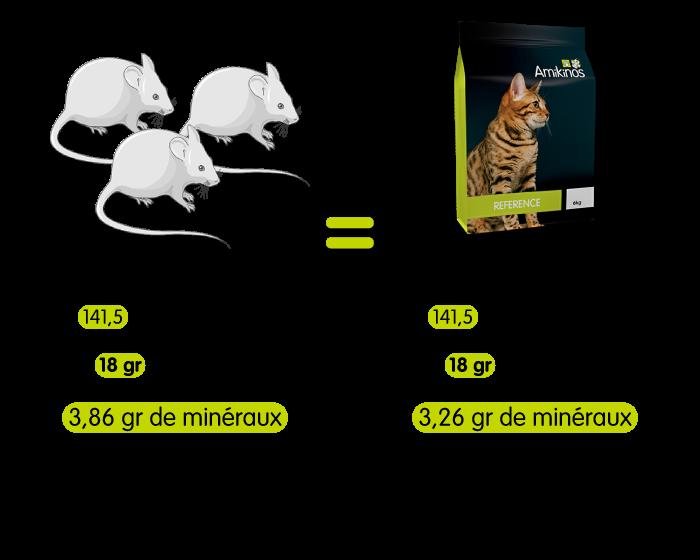 Un chat mangeant 100 gr de souris va manger uniquement 34,34 gr d'Amikinos Référence chat pour avoir exactement le même nombre de calories ingérées. 100 gr de souris donnent 18 gr de protéines, 3,86 gr de minéraux donc 0,86 gr de calcium et 0,62 gr de phosphore. 34,34 gr d'Amikinos Référence chat donnent 18 gr de protéines, 3,26 gr de minéraux dont 0,52 gr de calcium et 0,34 gr de phosphore.