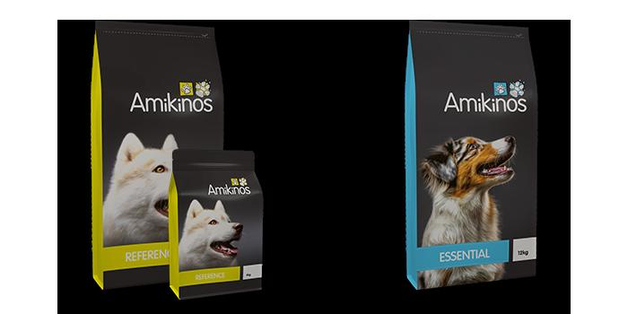Sacs des nouveaux aliments pour chiens Amikinos Référence et Essential.