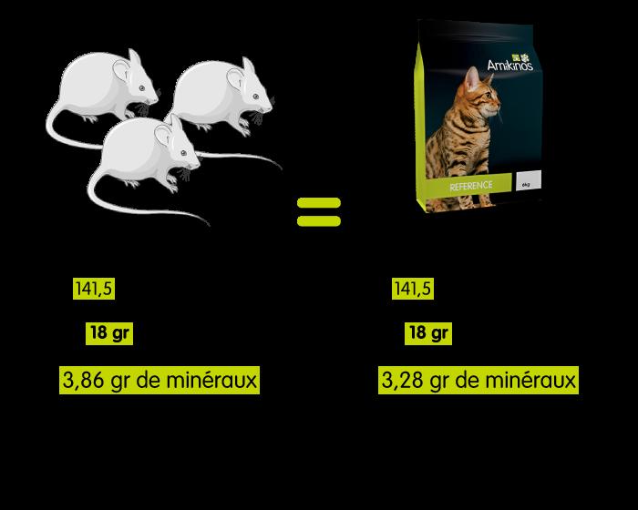 Un chat mangeant 100 gr de souris va manger uniquement 34,57 gr d'Amikinos Référence chat pour avoir exactement le même nombre de calories ingérées. 100 gr de souris donnent 18 gr de protéines, 3,86 gr de minéraux donc 0,86 gr de calcium et 0,62 gr de phosphore. 34,57 gr d'Amikinos Référence chat donnent 18 gr de protéines, 3,28 gr de minéraux donc 0,68 gr de calcium et 0,43 gr de phosphore.