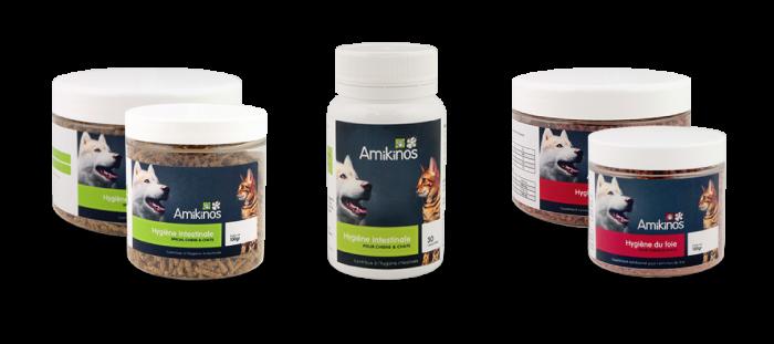 Photos des produits Hygiène intestinale et Hygiène du foie à utiliser pendant la transition alimentaire.