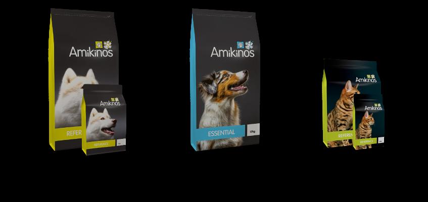 Ratio protéines brutes/cendres brutes : Référence chien : 51 / 9 = 5,7; Essential chien : 45 / 9 = 5; Référence chats : 52 / 9,5 = 5,5