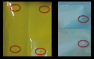 Photos montrant les perforations dans un sac plastique de la marque Tyler Packaging